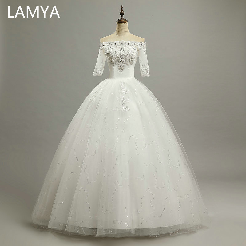 LAMYA Princess Half Sleeve Wedding Dress 2019 Vintage Boat Neck Cheap Plus Size Bride Gown Dresses Fashion Robe De Mariage