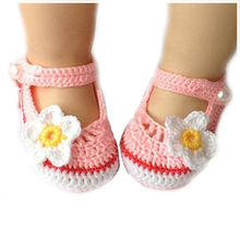 MACH Cartoon style flower knitting baby toddler shoes – White + Pink