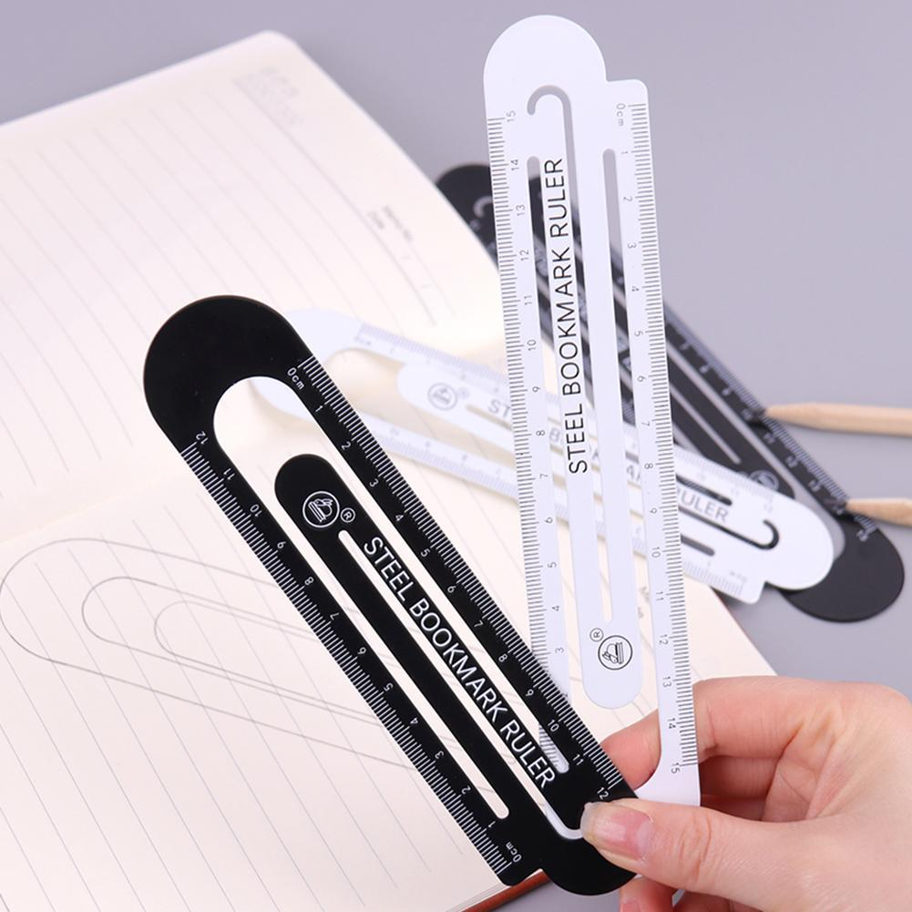12cm 15cm Metal Stainless Steell Ruler Bookmark High Quality School Student Drawing Supplies Rulers Color Random Small Fresh
