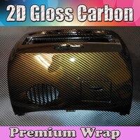 Глянцевая 2D Золотое углеродное волокно Автомобильная виниловая пленка в рулоне углеродное волокно виниловая фольга с воздушными каналами