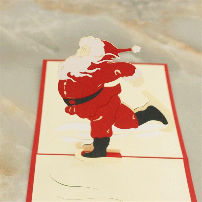 3D Christmas Greeting Card Pop up Skiing Santa Claus Laser Cut Xmas ...