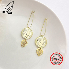 Pure 925 Sterling Silver Round Coin Figure Leaf Hoop Earrings Gold  Long ELegant Female Earrings Friendship Fine Jewelry Gift gold round leaf earrings