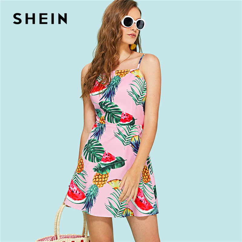 SHEIN Multicolor Vacation Boho Bohemian Beach Backless Knot Open Back Tropical Print Cami Dress Summer Women Casual Dresses