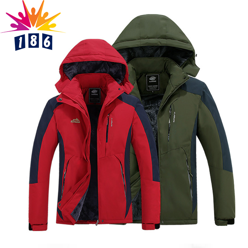 ФОТО Autumn and winter jacket male / female plus velvet thick warm coat jacket windproof breathable waterproof casual jacket coat 4XL