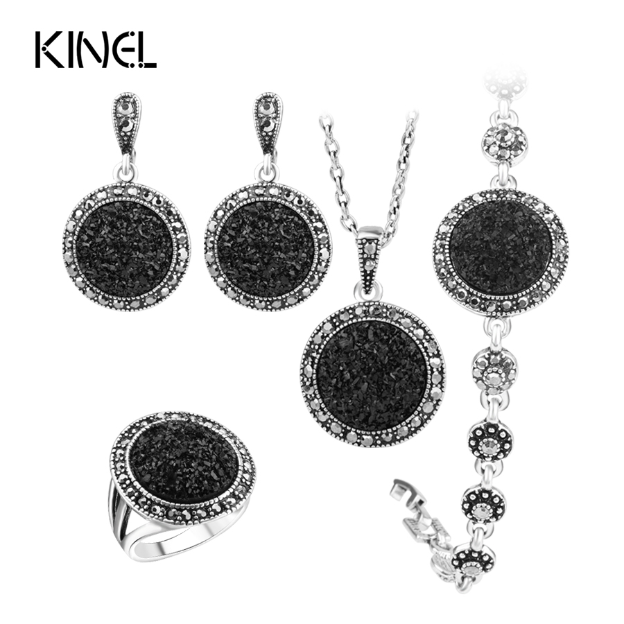 Hot 4pcs/Lot Black Broken Stone Wedding Jewelry Sets Earrings For Women Unique Bohemia Silver Plated Jewelry Engagement RingRing