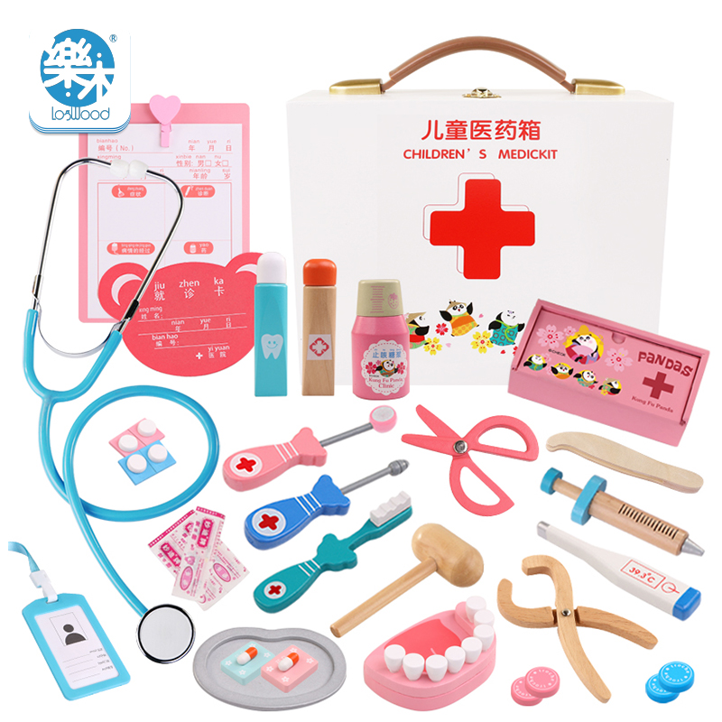 Filles en bois cosplay docteur jouet portable boîte à médicaments simulation boîte à médicaments faire semblant médecin Kit outil d'injection maison stéthoscope