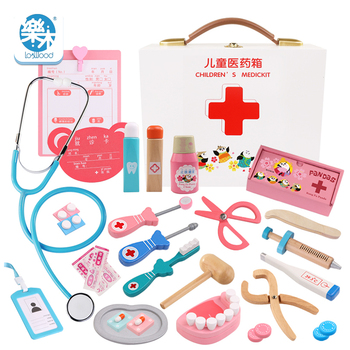 wooden girls cosplay doctor toy portable medicine box simulation medicine box Pretend Doctor Kit injection tool home stethoscope