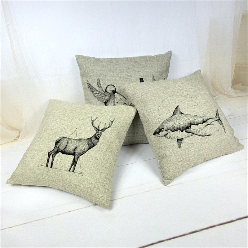 Modern Moose Pillow : Black And White 3D Deer Moose Elk Shark Sofa Modern Style Cushion cover Decorative Throw Pillow ...