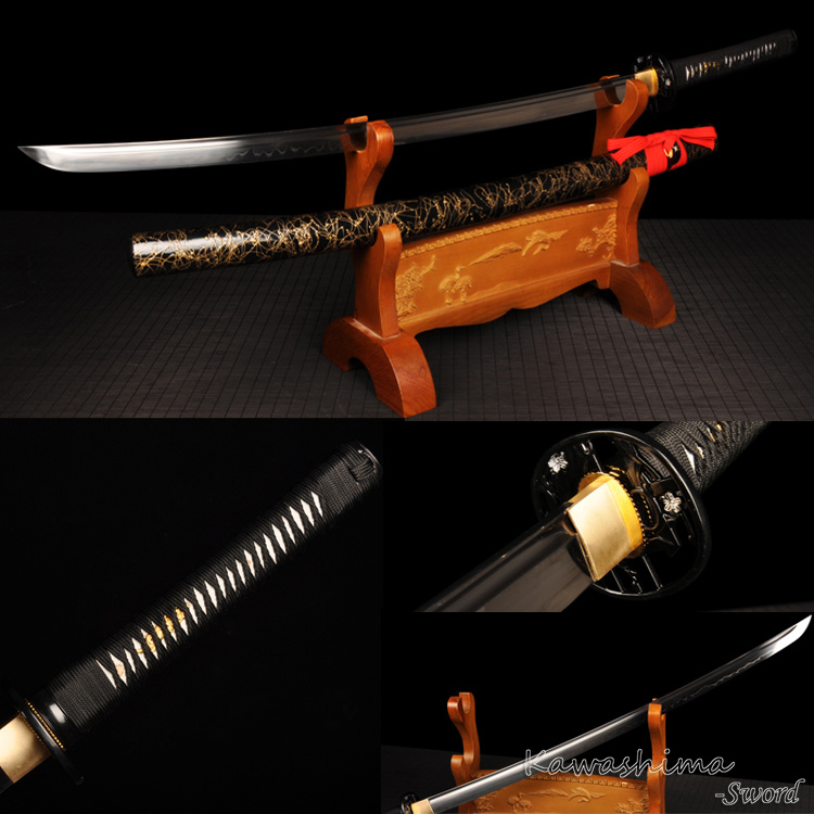Handmade Katana <font><b>1095</b></font> <font><b>Steel</b></font> Clay Temper Painting Black Gold Scabbard Real Japanese Samurai Sword Cutting Ready image