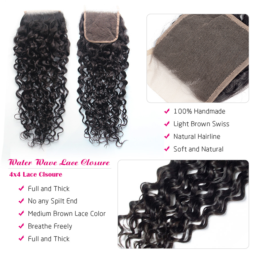 HTB19JohUQvoK1RjSZFwq6AiCFXaV Cynosure Human Hair Water Wave Bundles with Closure Double Weft Brazilian Hair Weave 3 Bundles With Closure Remy