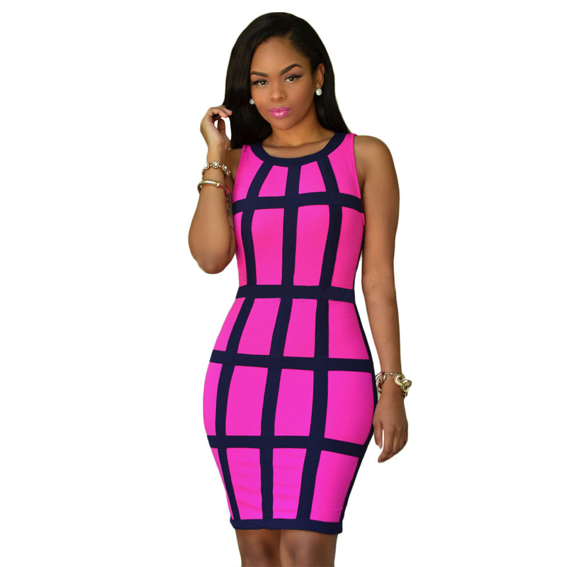 Women Summer Bodycon Dress 2017 Sleeveless Patchwork Femme Pink