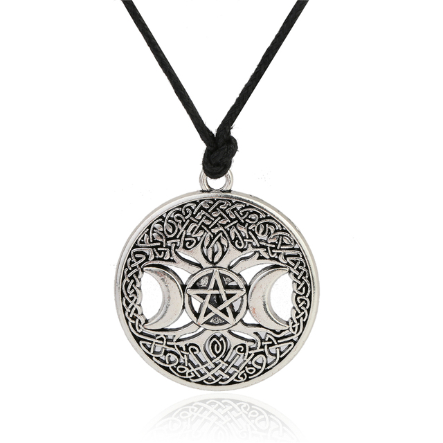 Lemegeton Knot Triple Moon Goddess Pentacle Adjustable Rope Chain