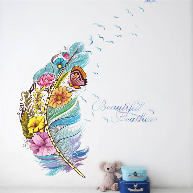 1PCS Color Feather Butterfly Flower Wall Stickers DIY For Living Room PVC Decals Mural Home Decoration 45*60CM
