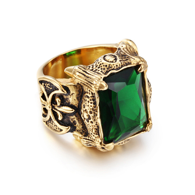Stainless Steel Seal Style Gold Color Dragon Shining Big Crystal Ring