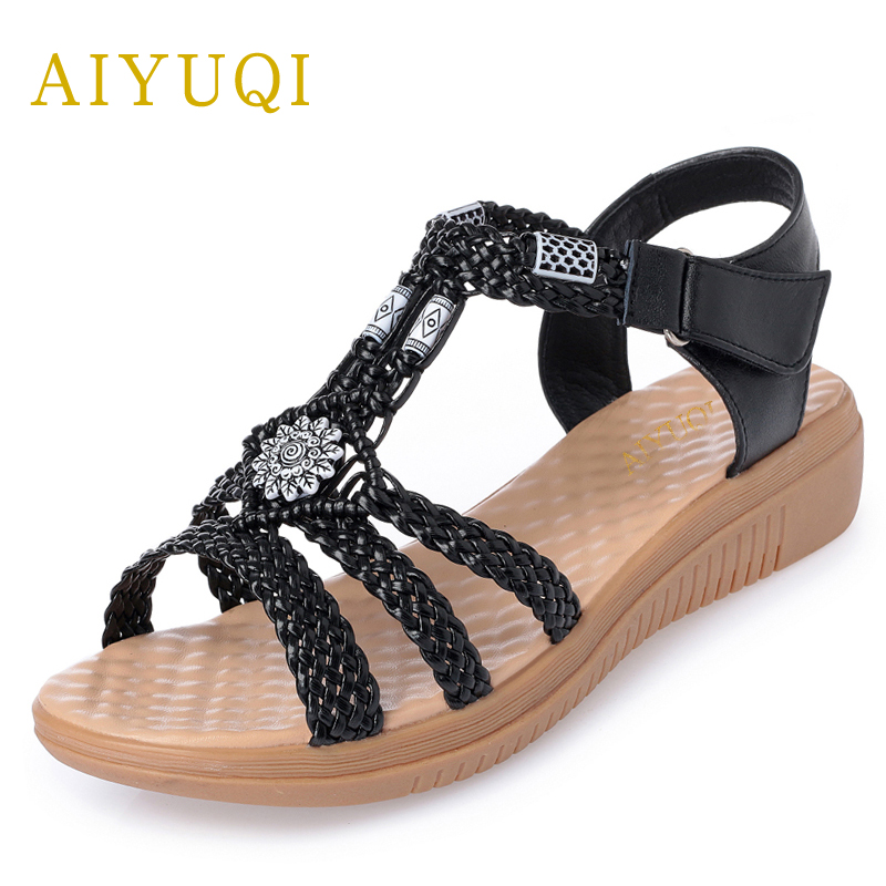 AIYUQI 2018 new women's sandals for the beach summer flat open toe Roman sandals large size 41#42#43#women sandal Handmade shoes цена и фото