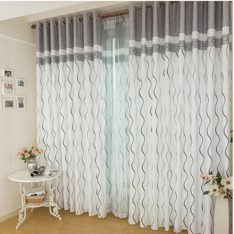 Modern Striped Printed Grey Window Curtains For Living Room Blackout Curtains Fabric Tulle Cortinas Drapes For Bedroom wp380&30