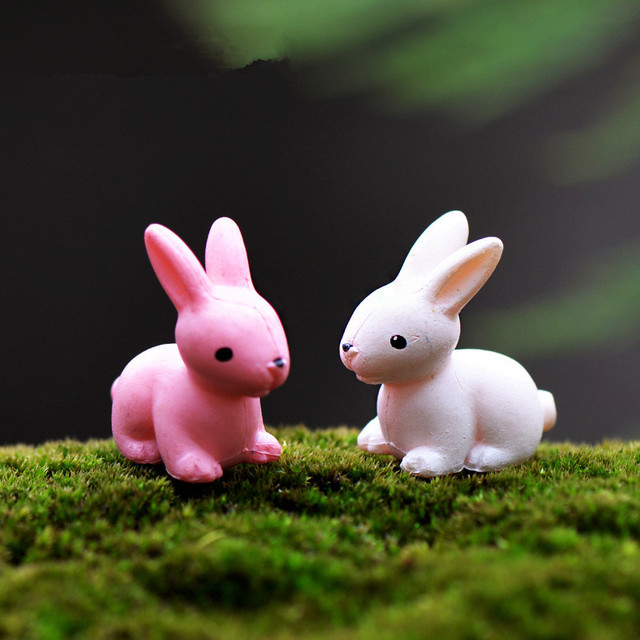 10pcs kawaii mini swan rabbit horse animal home micro fairy garden figurines miniatures home garden decoration - Garden Figurines