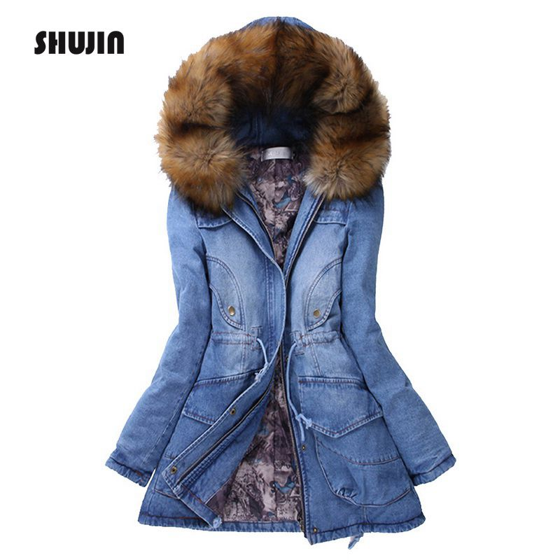 SHUJIN 2018 New Denim Jacket   Parkas   Women Winter Zipper Coat Female Warm Cotton Padded Long   Parkas   Fleece Hooded Outwear Wadded