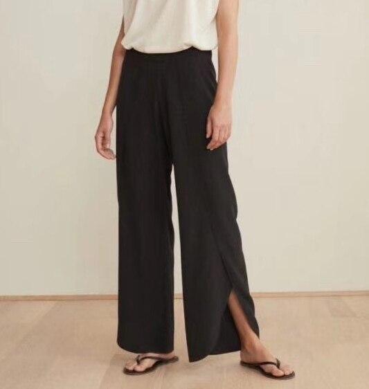 2019 Fall New Fashion Split Silk Wide Leg Long Pant