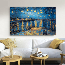 цены Starry Night on the Rhone River by Vincent Van Gogh Famous Artist Art Print Poster Wall Picture Canvas Oil Painting Home Decor