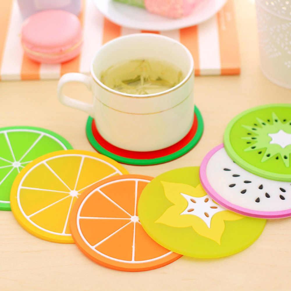 1 Pcs Colorful Silicone Cangkir Tikar Bantal Pemegang Rumah Ruang Makan Buah-buahan Decor Minuman Penempatan Tikar