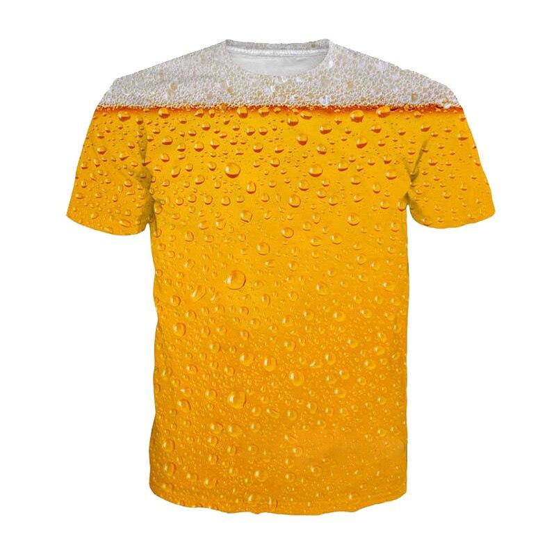2019 Summer   T  -  Shirt   3D Beer Letters Print Men Women Funny Novelty   T     Shirt   O-Neck Short Sleeve Tops Fashion Street Homme Top Tees