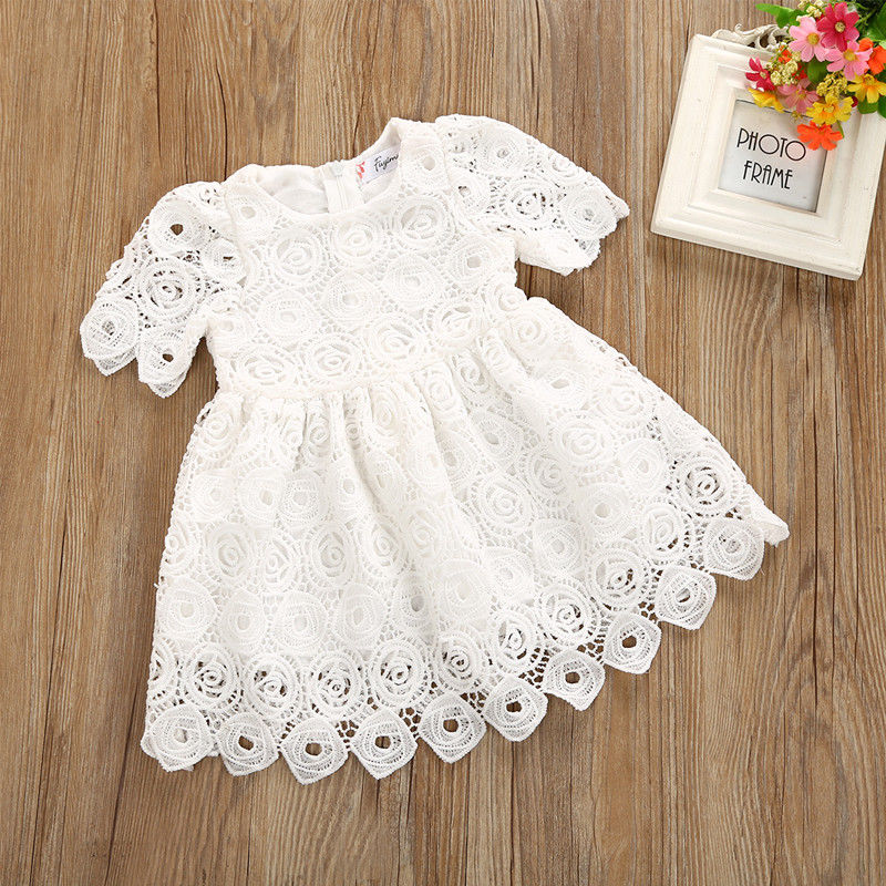 Solid Short sleeve Lace Crochet Princess Dress For Baby Girl title=