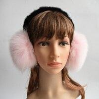 2017 New Style Winter Real Raccoon Fur Fox Fur Earmuffs For Women Warm Unisex Ear Muffs