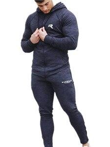 Image 2 - Sport Kleding Mannen Set Running Gym Sweatshirt Mannelijke Sportkleding Trainingspak Fitness Body buildin Mens Hoodies + Broek Sport Pak Mannen