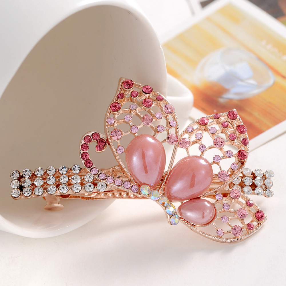 Fashion Tiaras And Crowns For Women Pink Butterfly Crystal
