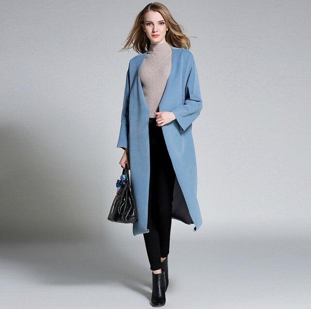 autumn winter wool coat women plus size 2017 elegant warm thick