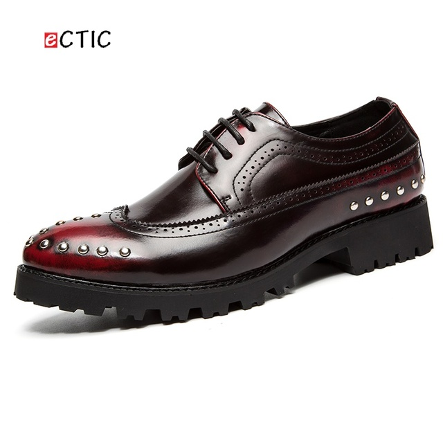 Mens Casual Shoes Handmade Formal Flats Shoes Wedding Dress Brogues Oxfords Derby Shoes Zapatos Hombre Burgundy Metallic Wingtip