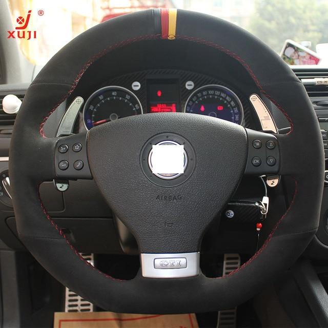 volante cubierta xuji para volkswagen golf 5 mk5 gti vw golf 5 r32 coche especial cosida a mano. Black Bedroom Furniture Sets. Home Design Ideas
