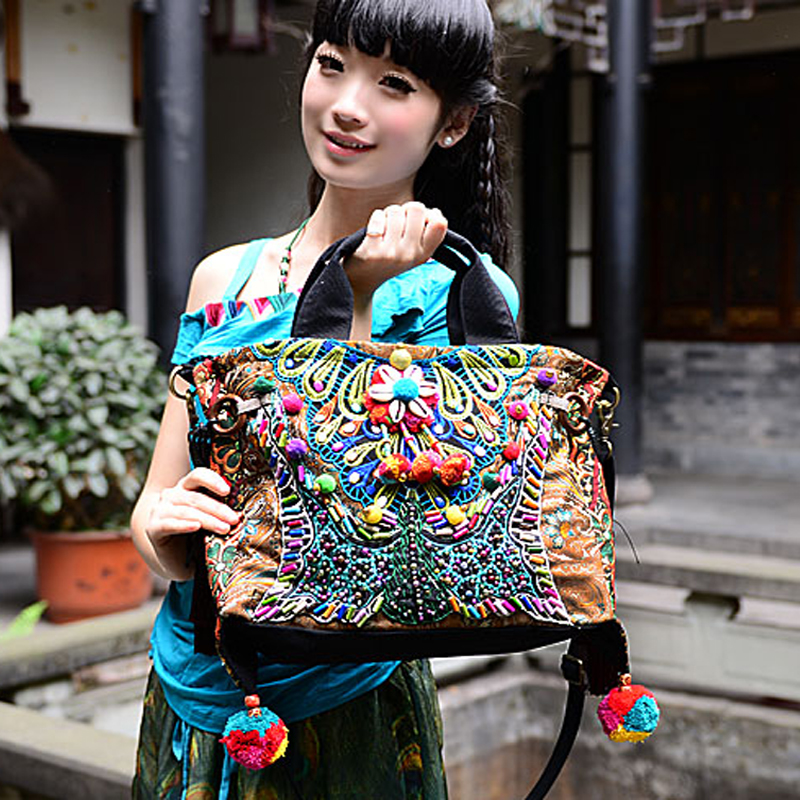 Bohemia exotic embroidery canvas tassel handbags Original Folk style handmade beaded pompon Shoulder Messenger Bags the who the who it s hard lp
