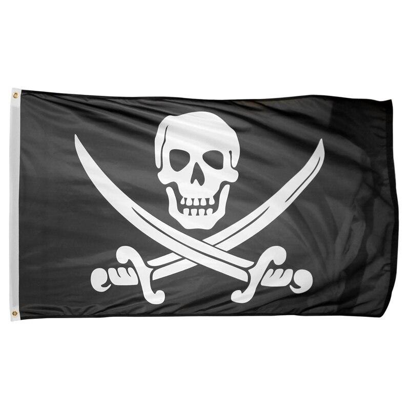 5/' Wood Flag Pole Kit Wall Mount Bracket 3x5 Pirate Deadman Chest Tricorner Flag