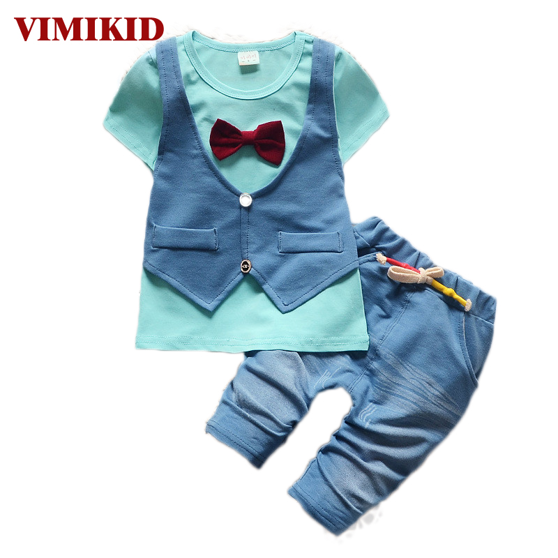 VIMIKID Summer 2017 fashion Kids 2pcs clothes suit Baby Boy T-shirt Top+Short pants outfit set children gentleman Clothing Sets