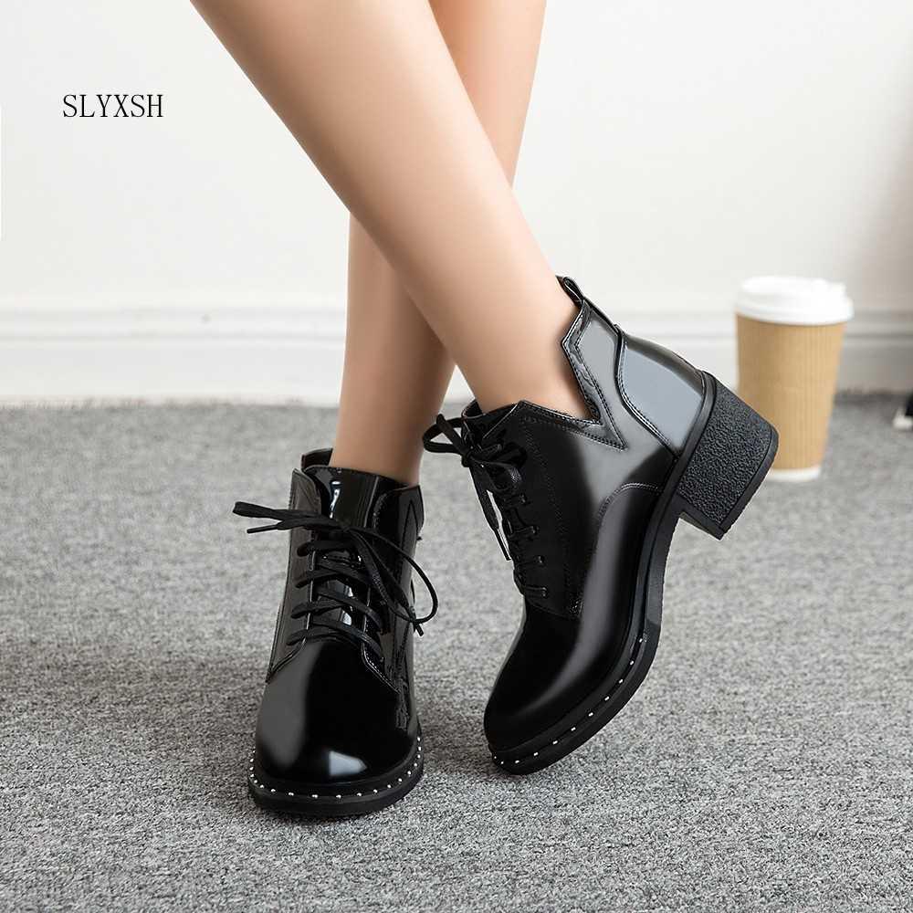 SLYXSH Yeni bahar Kış Kadın Pompaları Botları yüksek kaliteli dantel-up European Bayan ayakkabıları PU yüksek topuklu Çizmeler