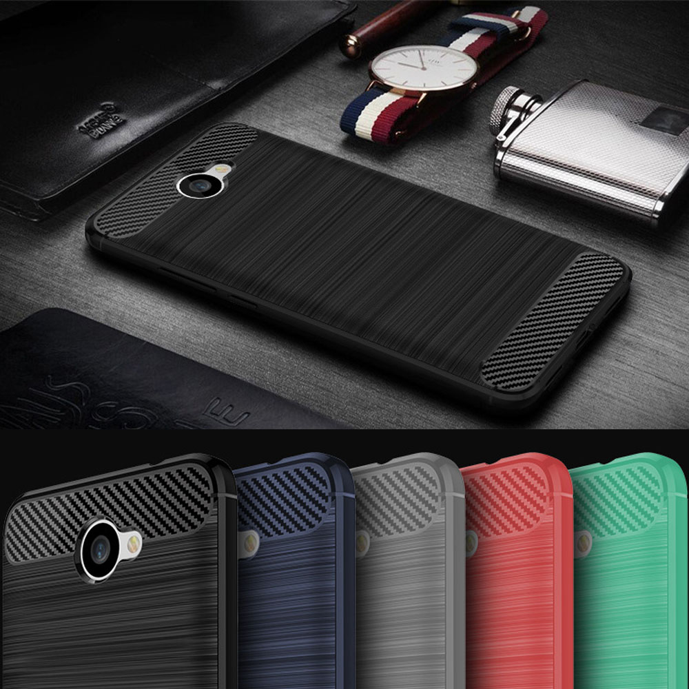 Hybrid Carbon Fiber Brushed Armor Case Shockproof Impact Protective Soft Silicone Rubber Cover For Huawei Ascend XT2 / Elate 4G