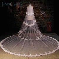 Trắng Tulle Nhà Thờ Train Wedding Veil 2016 Ren Đính Multi-layer Dài Bridal Mạng Che Mặt Phụ Kiện Đám Cưới
