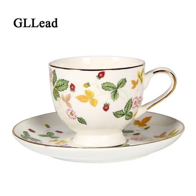 Gllead British Style Bone China Coffee Cup Saucer Set Fashion Strawberry Flower Ceramic Tea Cups Home