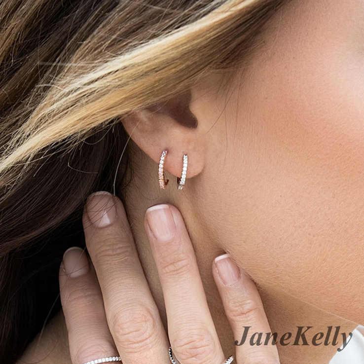 Janekellyใหม่อินเทรนด์ไมโครปูเพทายบุคลิกภาพต่างหูห่วงกลมสำหรับผู้หญิงเครื่องประดับ