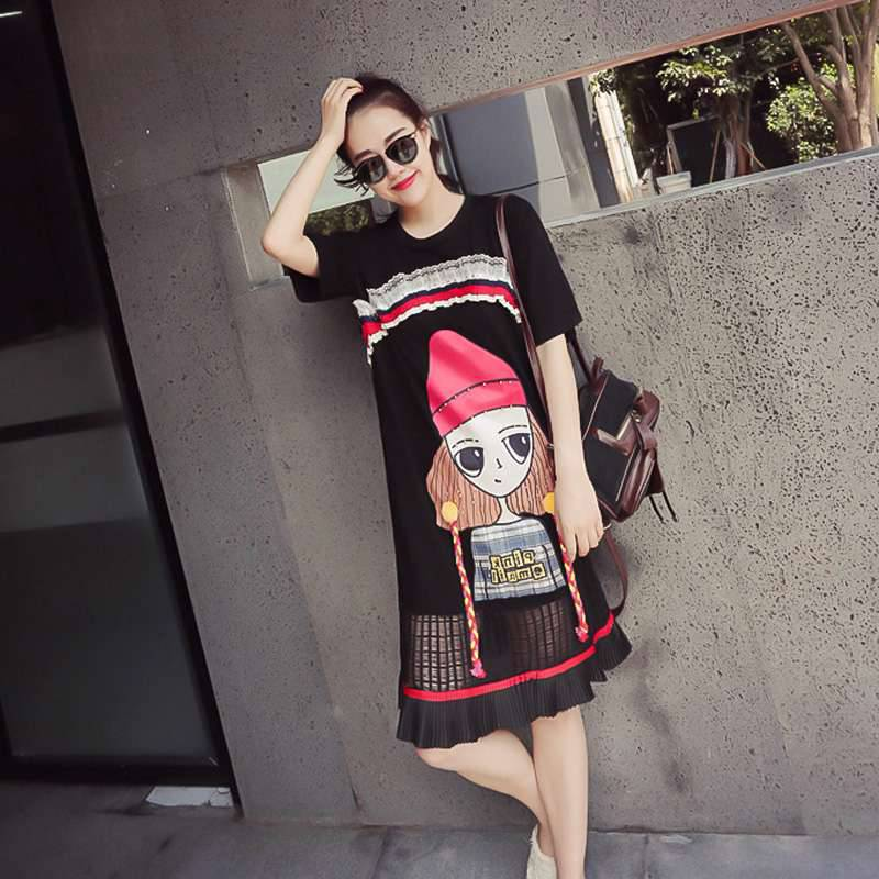 Maternity clothes 2018 Summer Cotton Print Short-sleeved T-shirt Top stitching Lace Thin Pregnant woman Dress