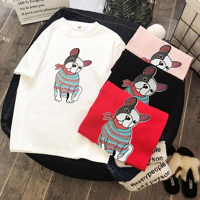 2018 New Summer Women Casual O-Neck Short Cartoon T-shirt Fashion Elegant Word Office Tees Party Print large size jacket