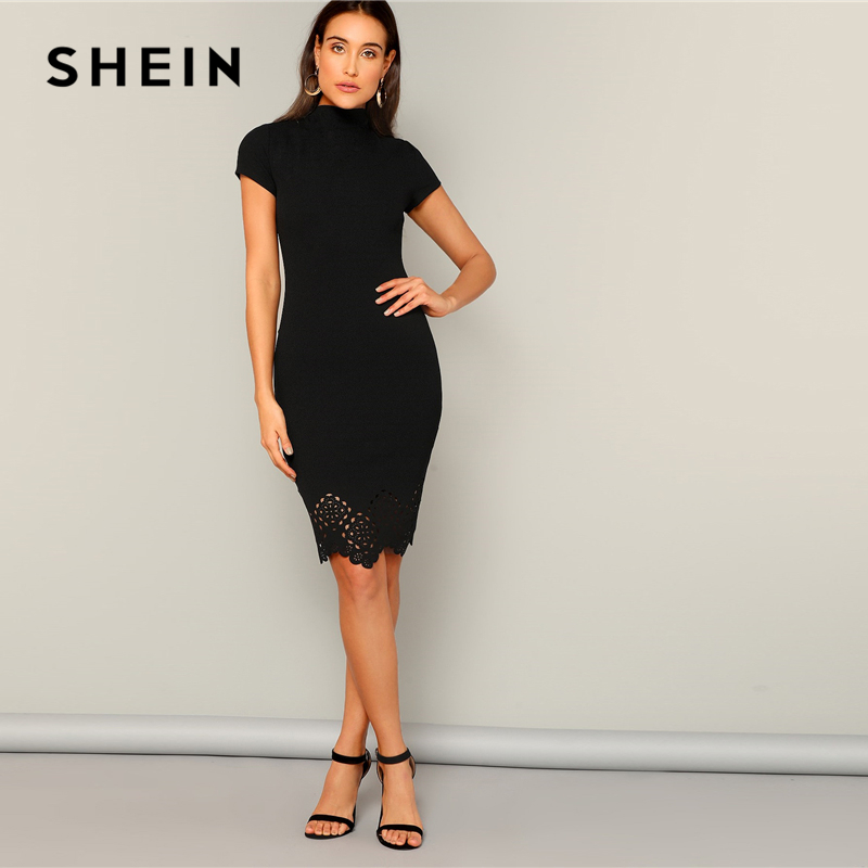 SHEIN Black Laser Cut Scallop High Neck Summer Pencil Dress Women Office Lady Short Sleeve Solid Bodycon Sexy Classy Dresses 3