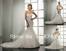 free shipping wedding dresses mermaid  with crystal 2013 New Sexy Custom Size Lace strapless sweetheart dress