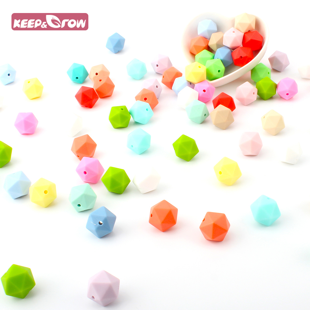 Keep&Grow 10pcs Teething Silicone Baby Teether Beads Icosahedron Beads Food Grade Silicone Non-toxic Infant Teething Accessories