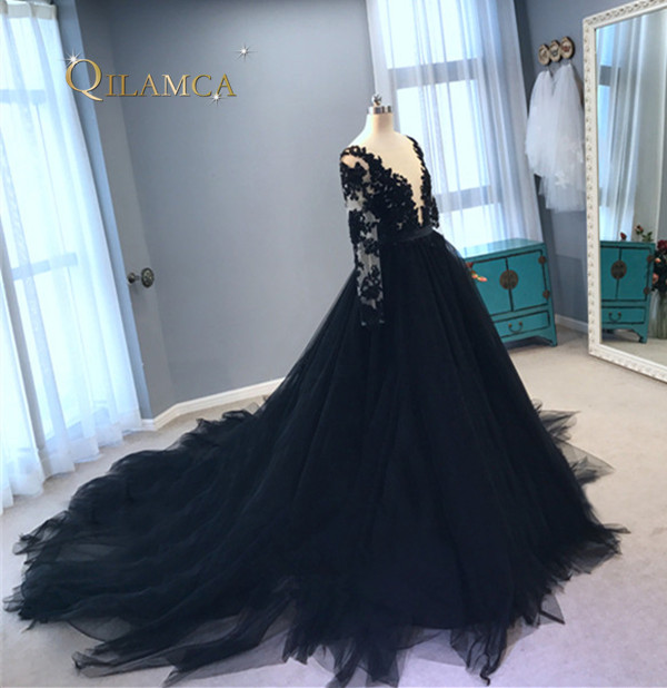 Long Formal Evening Dress 2017 Long Sleeve Tulle Ball Gown