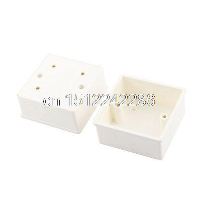2Pcs White PVC Single Gang Wall Switch Pattress Back Box 86mm x 86mm x 43mm