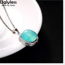 Uglyless Colgante cuadrado de Plata de Ley 925 auténtica sin cadena para mujer, joyería de piedras preciosas naturales amazonita, bisutería fina hecha a mano
