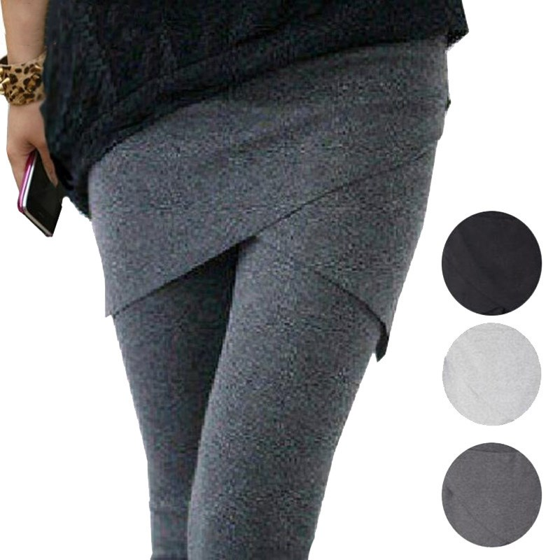 YGYEEG Women Leggings Autumn Cotton Legging Black Gray Faux Two Piece Pants Ankle Length Trousers Soft Leggins High Quality XXL